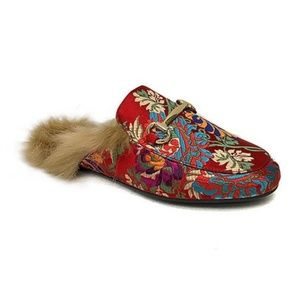 Bamboo Jackpot Red Faux Fur Mules